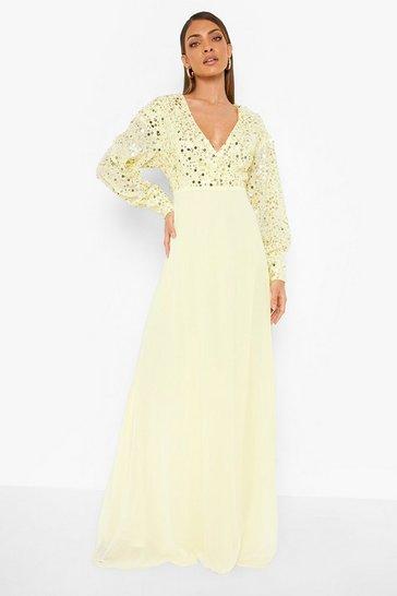 Lemon yellow Sequin Wrap Maxi Dress