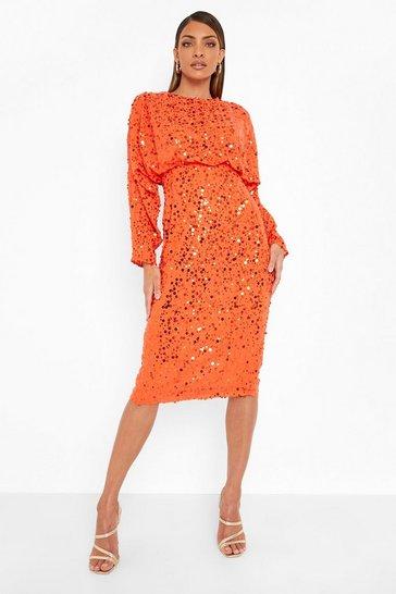 Orange Sequin Batwing Midi Dress