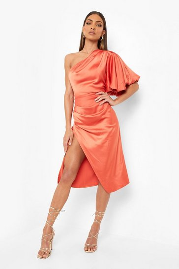 Orange Puff One Shoulder Side Split Midi Dress