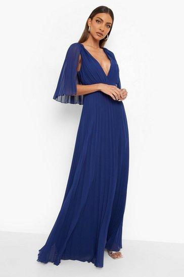 Navy Pleated Cape Detail Bridesmaid Maxi Dress