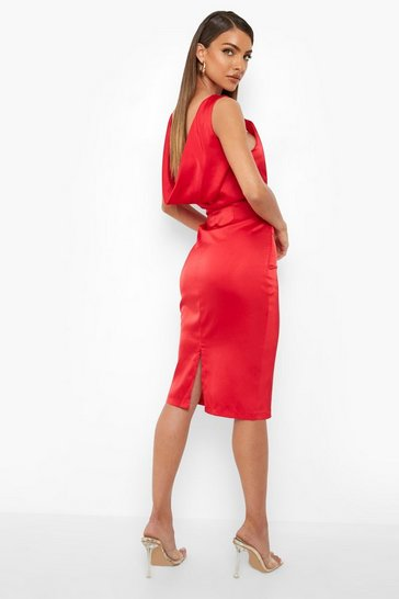 Red Corset Detail Midi Dress
