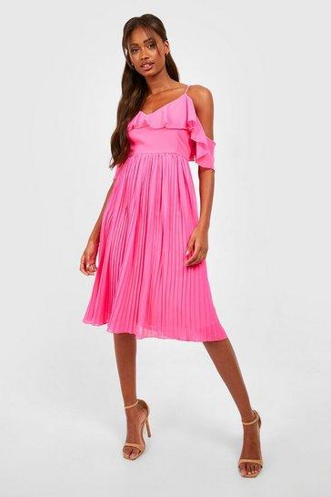 Pink Cold Shoulder Ruffle Midi Bridesmaid Dress