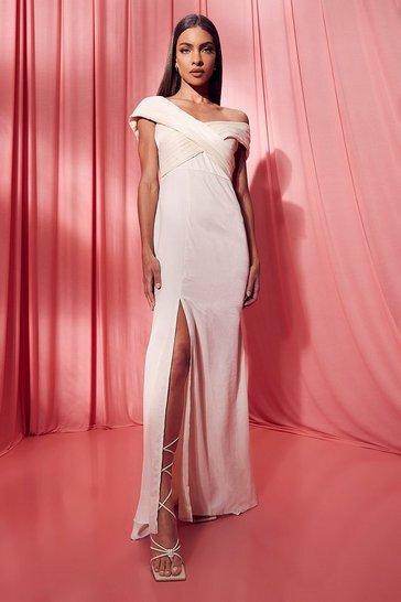 Ivory white One Shoulder Split Maxi Bridesmaid Dress