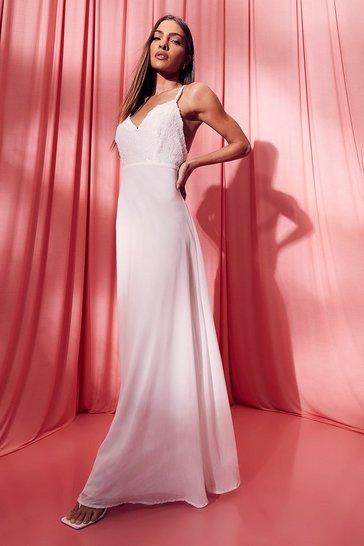 White Strappy Sequin Maxi Dress