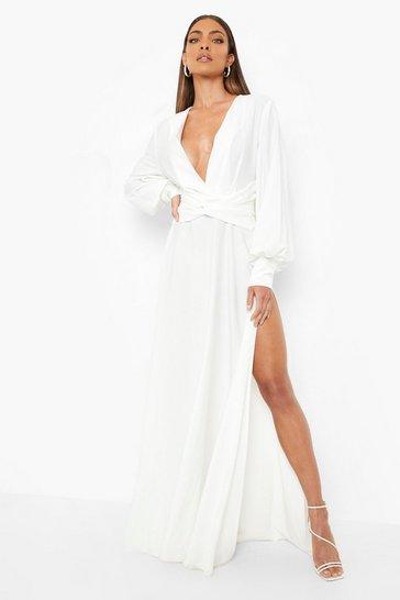 White Satin Twist Front Maxi Bridesmaid Dress