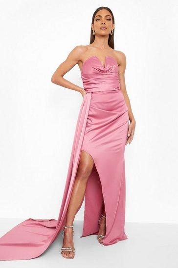 Pink Bandeau Draped Side Split Maxi Dress