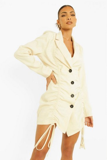 Stone beige Woven Ruched Front Blazer Dress