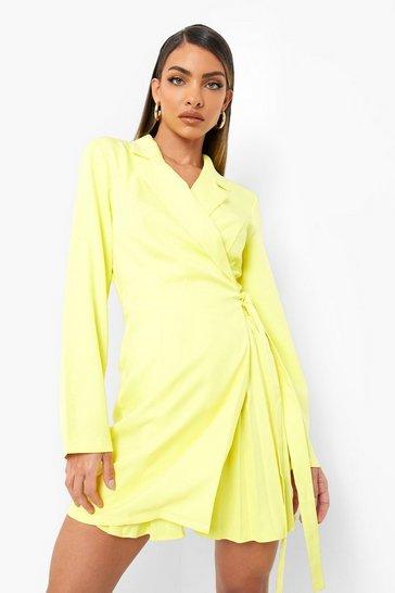 Yellow Woven Wrap Pleat Detail Blazer Dress