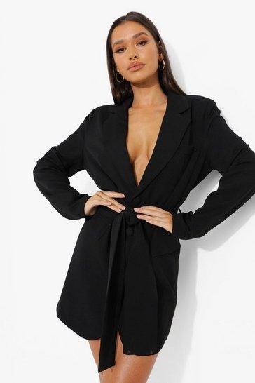 Black Woven Oversized Belted Blazer Dress
