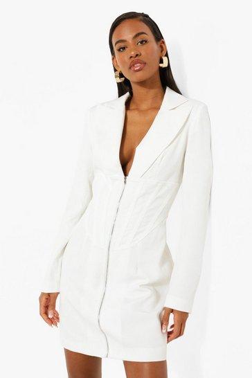 White Corset Waist Detail Zip Blazer Dress