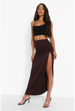 Chocolate brown Ruched Side Jersey Maxi Skirt