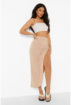 Sand beige Ruched Side Jersey Maxi Skirt