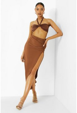 Chocolate brown Ruched Side Rib Maxi Skirt