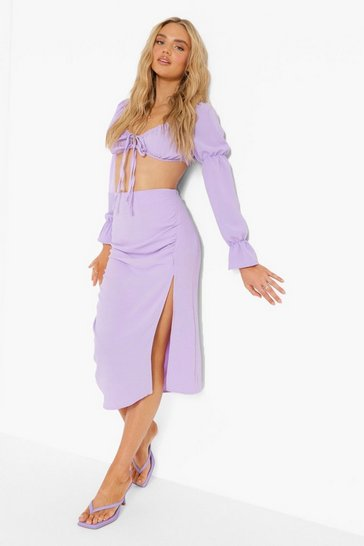 Lilac purple Ruched Tie Front Crop & Midi Skirt