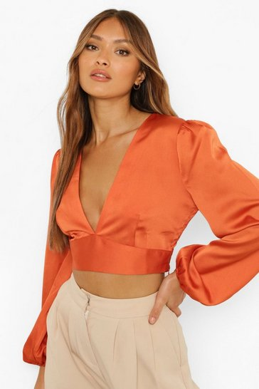 Rust orange Satin Volume Sleeve Button Top