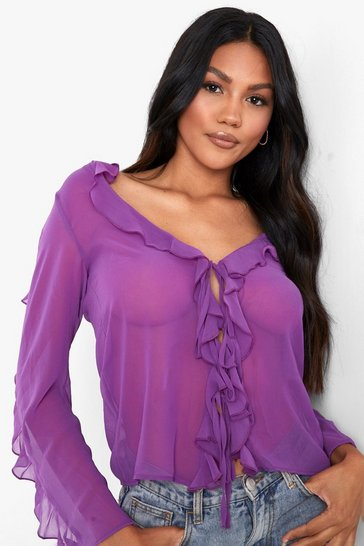 Purple Ruffle Chiffon Tie Blouse