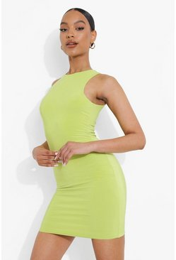 Lime green Double Slinky Racer Neck Mini Dress