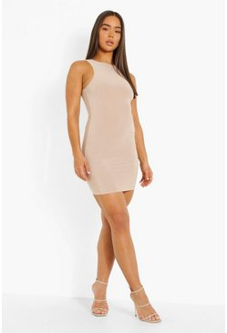 Stone beige Double Slinky Racer Neck Mini Dress