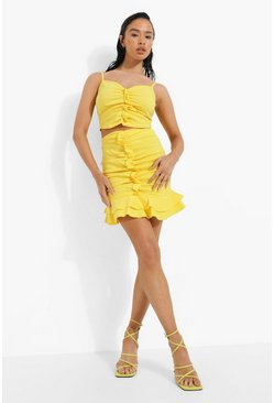 Lemon yellow Ruffle Sweetheart Crop & Skirt Set