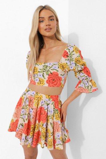 Orange Floral Flippy Shorts