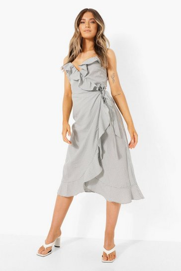 Blue Printed Ruffle Wrap Midi Tea Dress