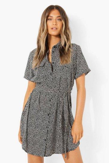 Printed Short Sleeve Shirt Dress