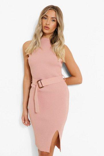 Blush pink Rib Knit Belted Crew Neck Sleeveless Dress