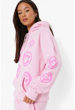 Light pink pink Oversized Heart Face Hoodie