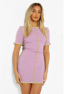 Lilac purple Short Sleeve Rib Knit Seam Detail Mini Dress