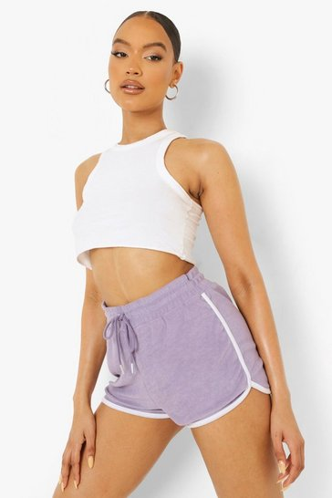Lilac purple Contrast Binding Towelling Runner Shorts
