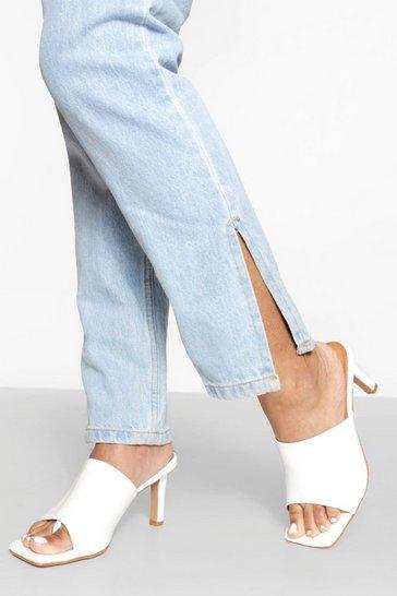 White Croc Square Toe Chunky Mules