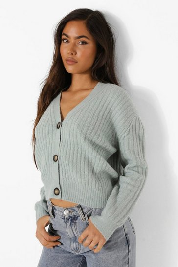 Sage green Rib Knit Oversized Boyfriend Caridgan