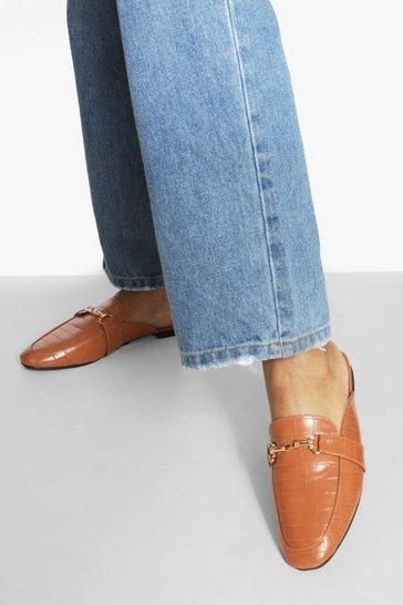 Tan brown Croc Bar Detail Loafer Mule