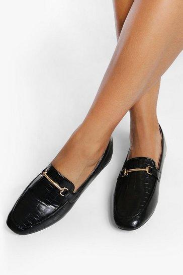 Black Bar Detail Loafers