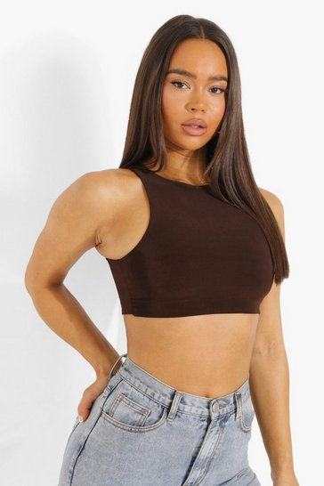 Chocolate brown Brown Double Layer Racer Neck Crop Top
