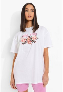 White Tres Chic Cherub Printed Oversized T-shirt