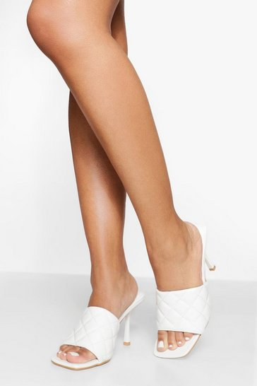 White Quilted Square Toe Mules
