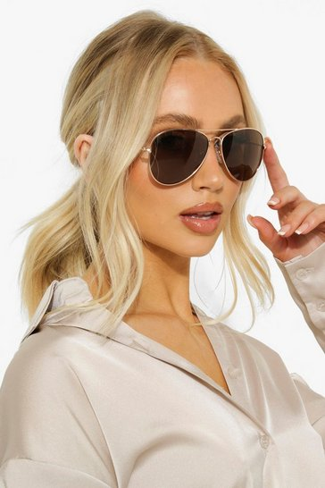 Brown  Aviator Gold Frame Tinted Sunglasses