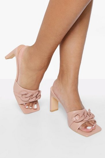 Pink Chunky Chain Square Toe Mule