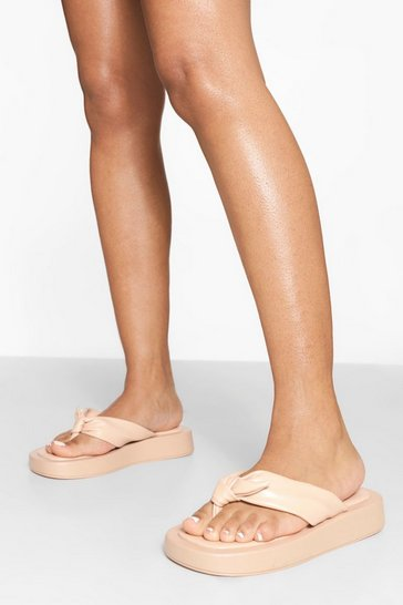 Nude Chunky Toe Post Sporty Flip Flops