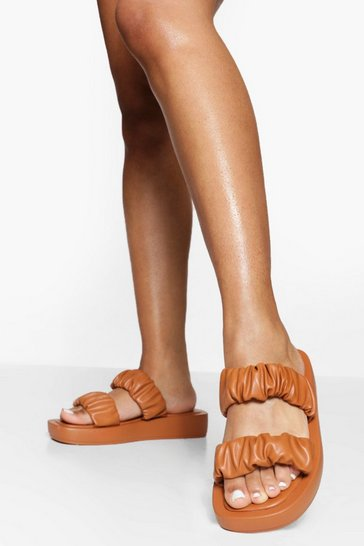 Tan brown Chunky Ruched Double Strap Sandals