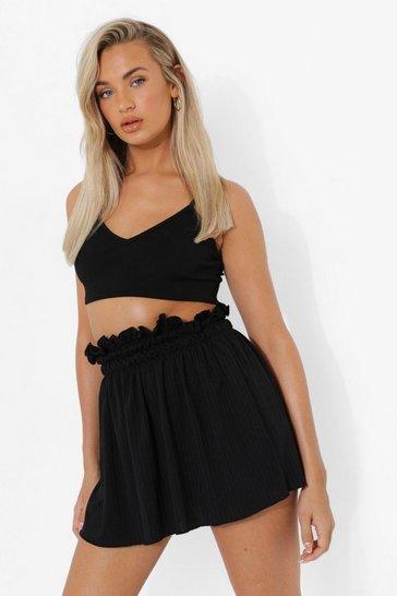Black Ribbed Lettuce Edge Mini Skirt