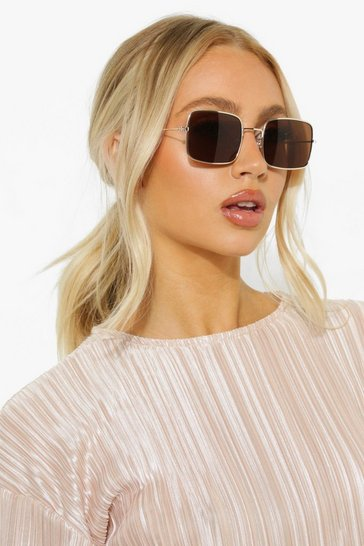 Brown Square Framed Tinted Sunglasses