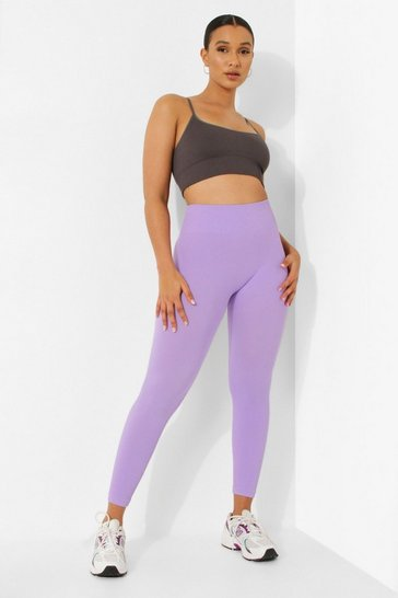 Purple Seamfree Ribbed Active Leggings