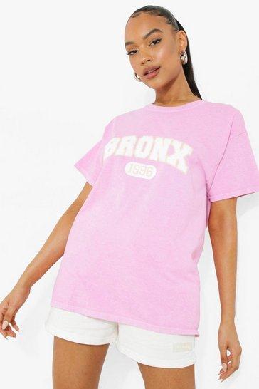Pink Bronx Slogan Printed Overdye T-Shirt