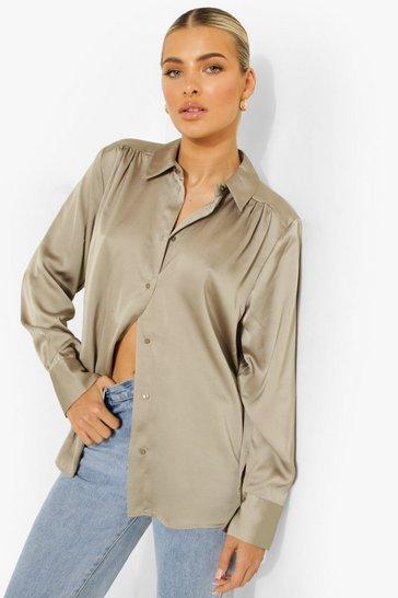 Premium Satin Shirt In Sage
