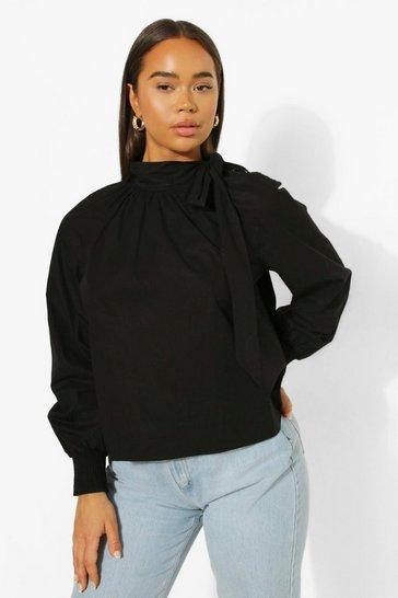 Black Oversized Pussy Bow Shirt