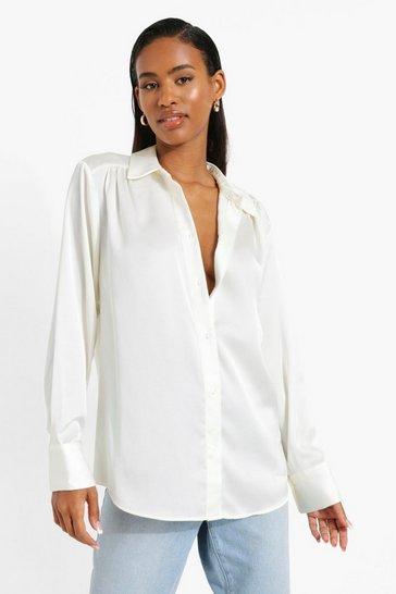 Premium Satin Oversized Shirt In Oyster