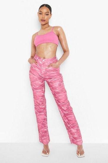 Pink Water Printed Boyfriend Jeans