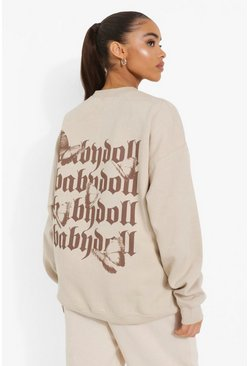 Babydoll Back Print Sweater, Sand Бежевый